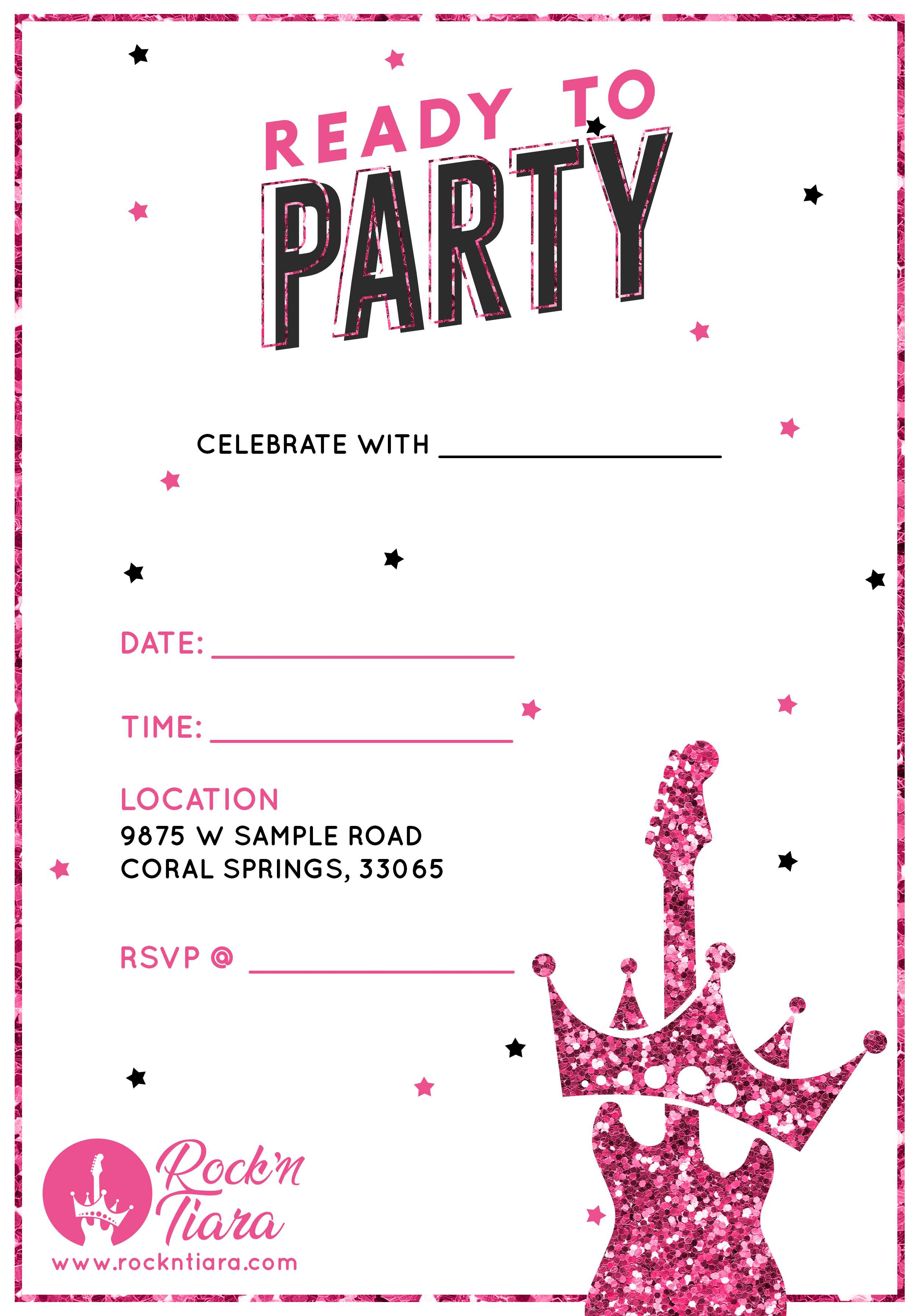 Birthday Party Invitation | Custom Design from Rock'N Tiara